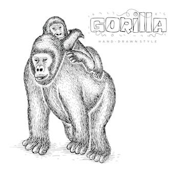 Gorilla di vettore che tiene il suo bambino, illustrazione animale sveglio disegnata a mano