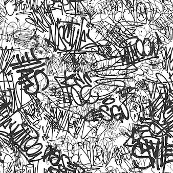 Modello senza cuciture di tag graffiti vettoriali, design di stampa.