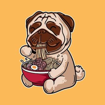 Illustrazione grafica vettoriale di cartone animato di cane carlino mangiare noodle ramen con stile giapponese retrò vintage