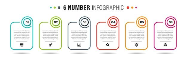 Grafica vettoriale di modelli di progettazione di elementi infografici con icone e 6 numeri