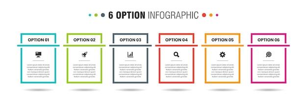 Grafica vettoriale di modelli di progettazione di elementi infografici con icone e 6 opzioni