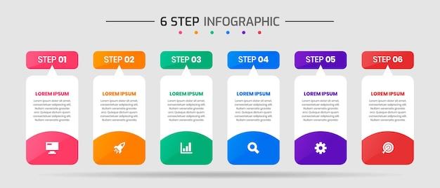 Grafica vettoriale di modelli di progettazione di elementi infografici con icone e 6 passaggi