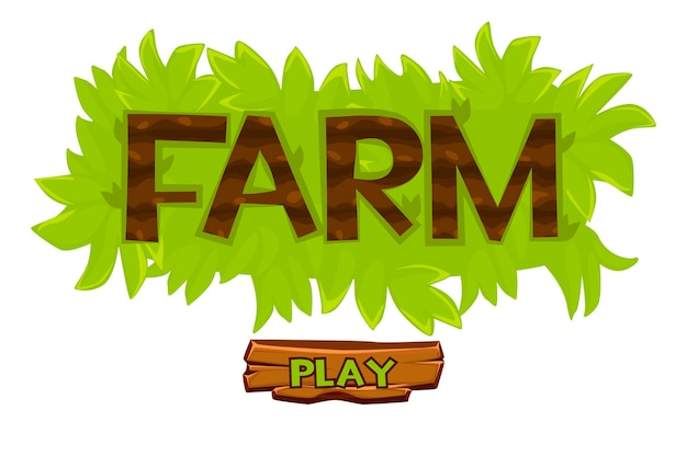 Logo della fattoria del cespuglio di erba vettoriale per il gioco dell'interfaccia utente. cartoon illustrazione di scritte e pulsante di riproduzione in legno.