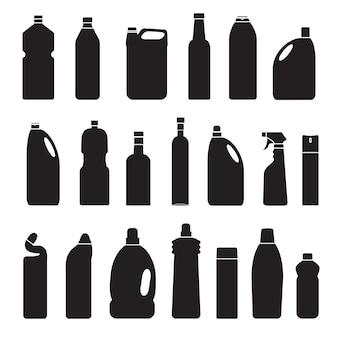 Vector silhouette grigio set di illustrazione bottiglie lattine contenitore icon