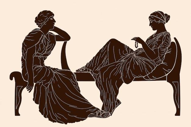 Donne greche vettoriali.