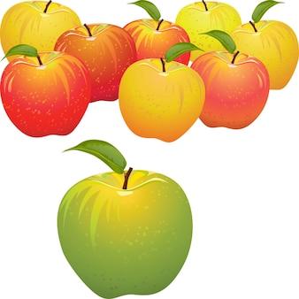 Mela verde vettoriale vs set di mele rosse e gialle