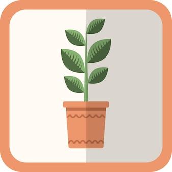 Pianta piana di vettore verde nel vaso. icona semplice con ombra. elemento decorativo di giardinaggio floreale per design, gioco, concetti.