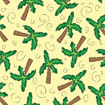 Fondo senza cuciture del modello delle palme verdi di vettore con gli elementi disegnati a mano