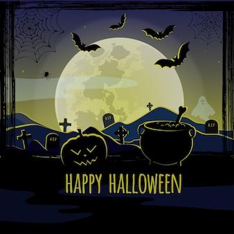 Biglietto di auguri vettoriale per halloween con pipistrelli al cimitero
