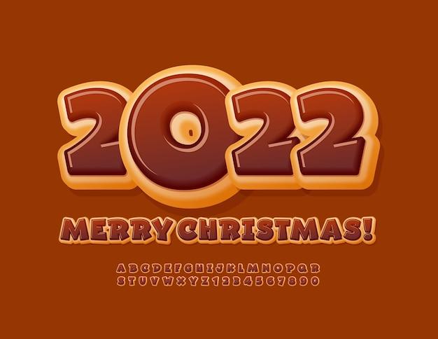Biglietto di auguri vettoriale happy new year 2022 set di alfabeto gustoso con ciambella al cioccolato in stile giocoso