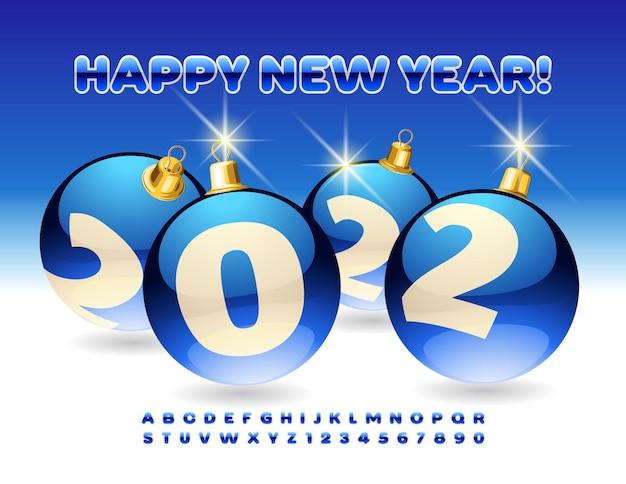 Cartolina d'auguri vettoriale felice anno nuovo 2022 con lettere e numeri dell'alfabeto delle sfere decorative blu