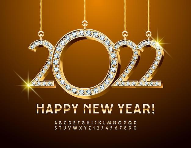 Biglietto di auguri vettoriale felice anno nuovo con giocattoli di natale con diamanti 2022 elegante alfabeto oro