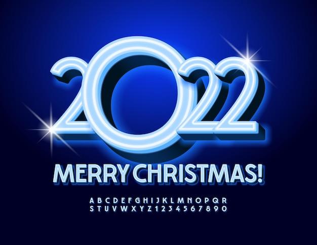 Biglietto di auguri vettoriale buon natale 2022 carattere blu elegante set di lettere e numeri di alfabeto al neon