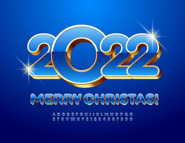 Cartolina d'auguri vettoriale buon natale 2022 lettere e numeri dell'alfabeto 3d di lusso in oro e blu