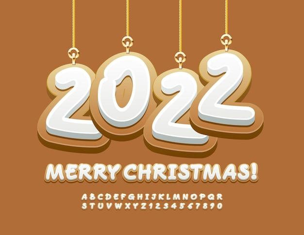 Biglietto di auguri vettoriale buon natale 2022 con lettere e numeri dell'alfabeto dei biscotti con giocattoli decorativi