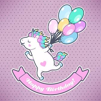 Biglietto di auguri vettoriale con unicorno carino e palloncini