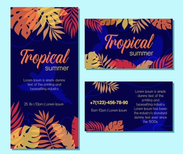Cartolina d'auguri di vettore con piante tropicali per una vacanza o una festa. una serie di biglietti da visita tematici. pappagallo. versione blu scuro.