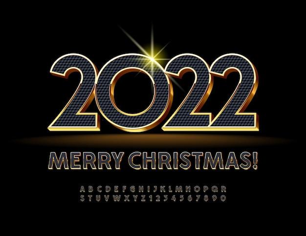 Vector saluto buon natale 2022 carattere moderno lusso nero e oro alfabeto lettere e numero