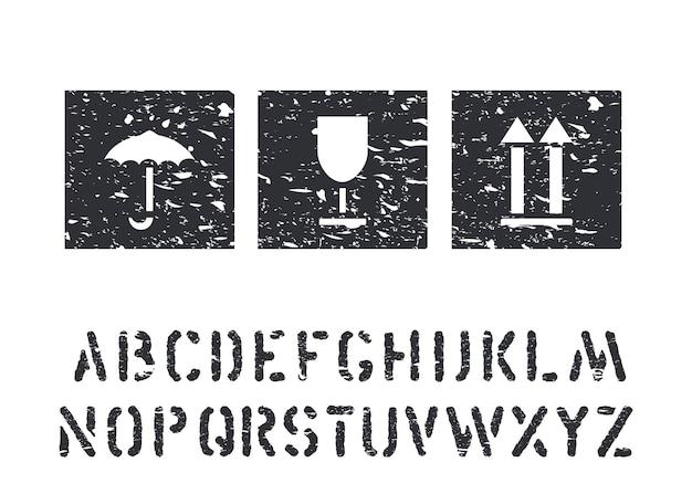 Segni della scatola di gomma del grunge di vettore e alfabeto del carico per logistica, carico. vetro, ombrello, icone nere standard della freccia isolate