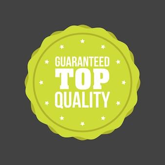Segno distintivo piatto di alta qualità garantita vettoriale, etichetta rotonda.