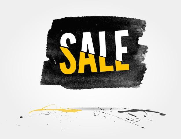 Vector banner acquerello vendita a metà prezzo con spruzzi di inchiostro