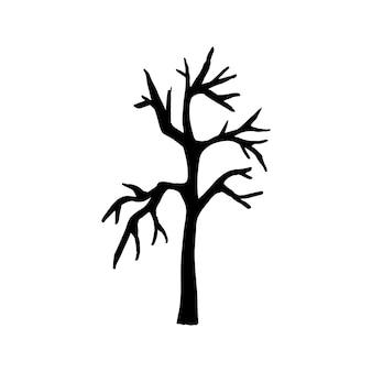 Vector halloween albero secco clipart. illustrazione divertente e carina per il design stagionale, tessile, decorazione sala giochi per bambini o biglietto di auguri. stampe disegnate a mano e scarabocchi.