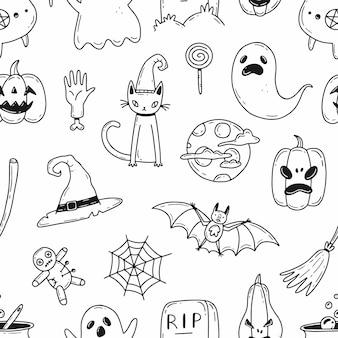 Vettore halloween modello bianco e nero senza soluzione di continuità con elementi in stile doodle dei cartoni animati