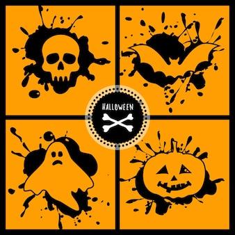 Insieme di halloween di vettore con i simboli principali della vacanza