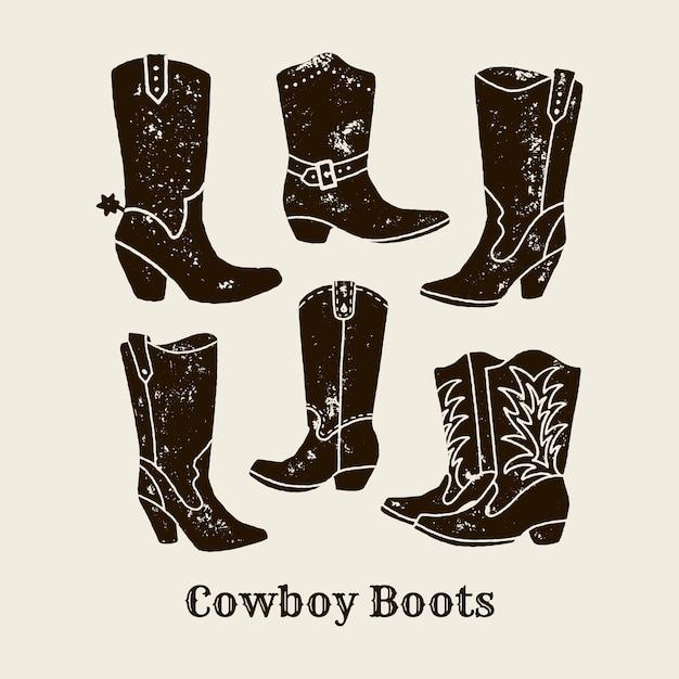 Illustrazione di tiraggio della mano di vettore di stivali da cowboy in stile retrò. icona isolata su priorità bassa bianca. elemento di design per poster, volantini, cartoline, web design, stampa t-shirt