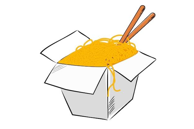 Vector hand draw sketch, noodle e bacchette nella ciotola di carta