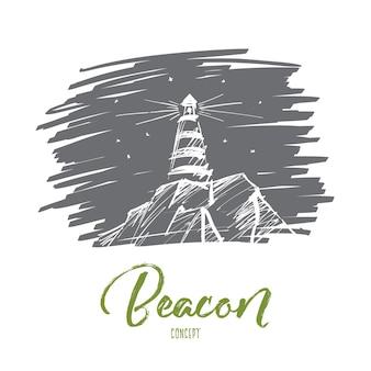 Schizzo di concetto di faro disegnato a mano di vettore. faro sulle rocce che brillano durante la notte. lettering beacon concept