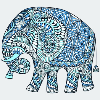 Doodle tatuaggio blu disegnato a mano di vettore con elefante indiano decorato