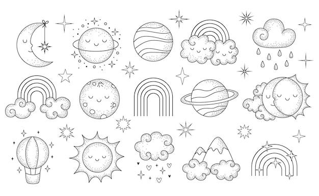 Collezione celeste disegnata a mano di vettore con simpatici pianeti luna nuvole rainbous