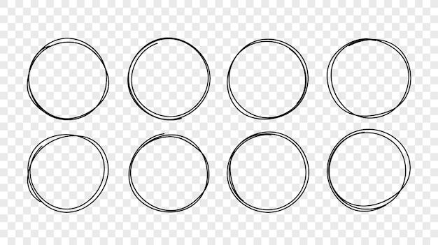 Set di cornici per schizzi di linee circolari disegnate a mano di vettore