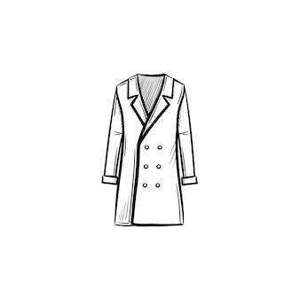 Icona di doodle di contorno cappotto disegnato a mano di vettore. illustrazione di schizzo del cappotto per stampa, web, mobile e infografica isolato su sfondo bianco.