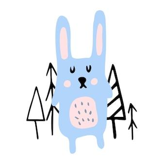 Illustrazione per bambini di colore disegnato a mano di vettore con lepre e alberi carini