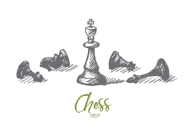 Schizzo di concetto disegnato a mano di vettore di scacchi montati e re in piedi al centro con scritte