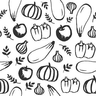Reticolo senza giunte dell'alimento di doodle disegnato a mano di vettore. lavagna eco, alimenti biologici, frutta e verdura, fattoria