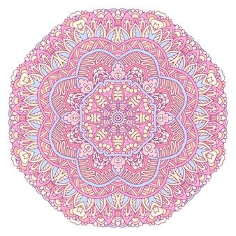 Mandala di doodle disegnato a mano di vettore fiore etnico della stella con l'ornamento variopinto