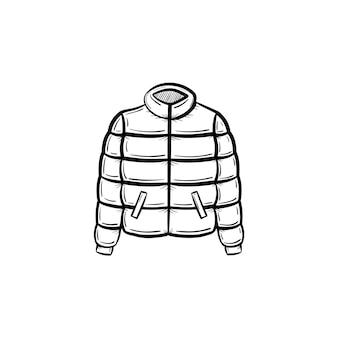 Icona di doodle di contorno giacca piuma disegnata a mano di vettore. illustrazione di schizzo di piumino per stampa, web, mobile e infografica isolato su sfondo bianco.