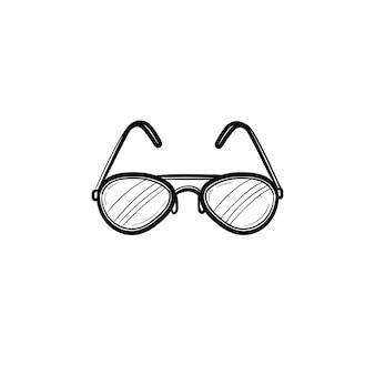 Icona di doodle di contorno di occhiali disegnati a mano di vettore. illustrazione di schizzo di occhiali per stampa, web, mobile e infografica isolato su sfondo bianco.