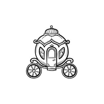 Icona di doodle di vettore disegnato a mano favola carrozza contorno outline