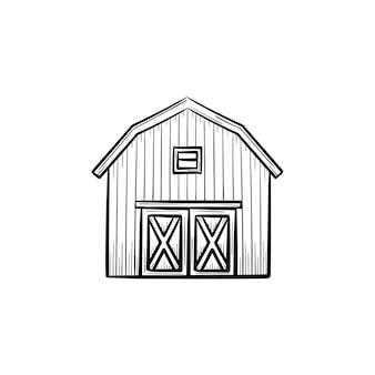 Icona di doodle di contorno di fattoria fienile disegnato a mano di vettore. illustrazione di schizzo del granaio dell'azienda agricola per stampa, web, mobile e infografica isolato su priorità bassa bianca.