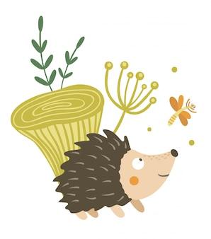 Riccio piatto disegnato a mano di vettore con clipart di funghi e libellule. divertente scena autunnale con animale spinoso divertendosi. illustrazione di bosco carino