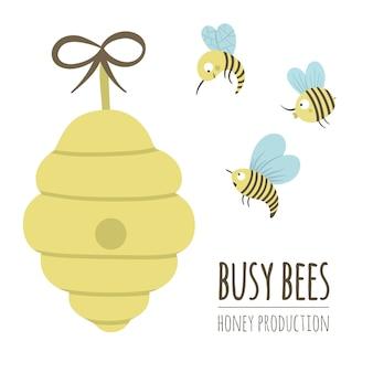 Illustrazione piana disegnata a mano di vettore di un alveare con le api. logo di produzione di miele, segno, banner, poster.