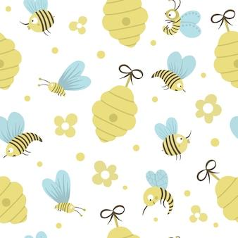 Modello senza cuciture piatto disegnato a mano di vettore con alveare, api, fiori. spazio ripetuto infantile divertente carino sul tema della produzione di miele. ornamento di insetti carino