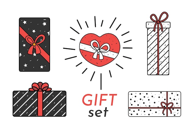 Contenitori di regalo disegnati a mano di vettore e regali isolati su bianco. buon compleanno o set di pacchetti di san valentino.