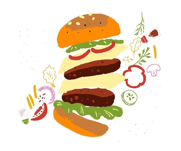 Illustrazione disegnata a mano di vettore di doppio hamburger con spezie e snack isolati