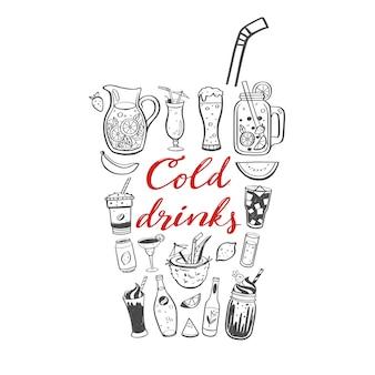 Illustrazione disegnata a mano di vettore e calligrafia manoscritta di bevande fredde e bevande estive.