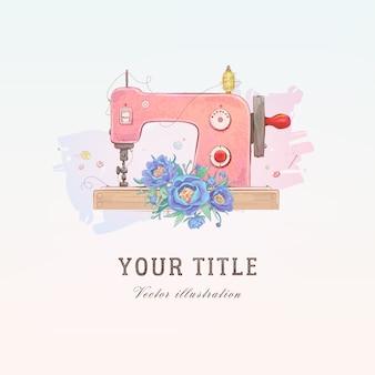 Illustrazione disegnata a mano di vettore della macchina da cucire e dei fiori